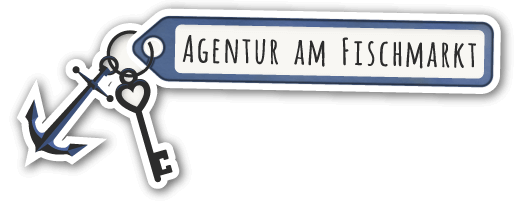 "Logo of ""Agentur am Fischmarkt - Holiday Flats in Hamburg"": A key with an anchor as a key-holder and an address-holder, on which ""Agentur am Fischmarkt"" is written."